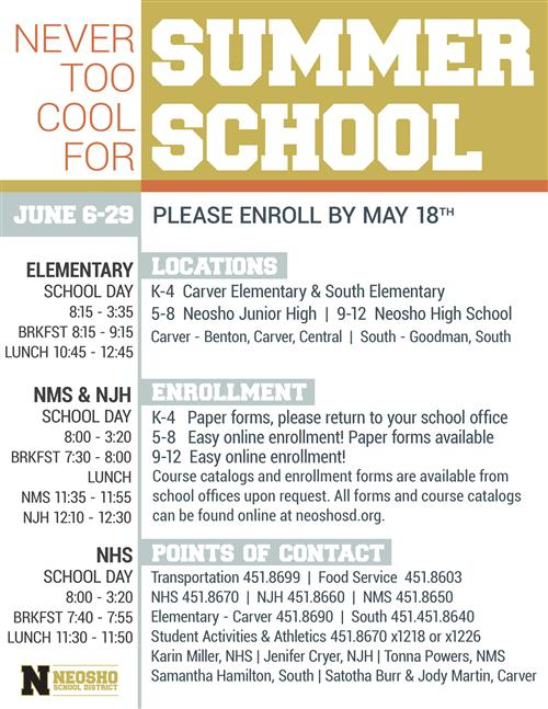 Summer School Quick Sheet